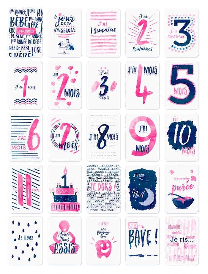 50 Cartes Etapes Bébé Recto / Verso